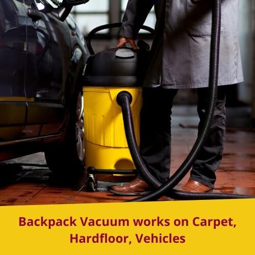 Backpack Vacuum Works Fine on Hardwood Floor, Carpet, Vehicles